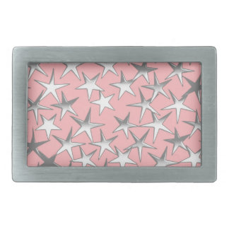 Silver stars, on shell pink belt buckle