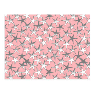 Silver stars, on shell pink postcard