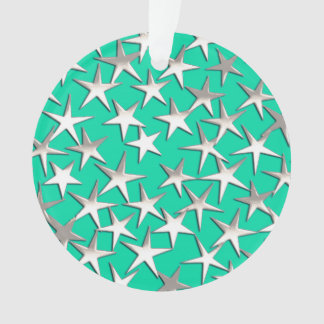 Silver stars on turquoise ornament
