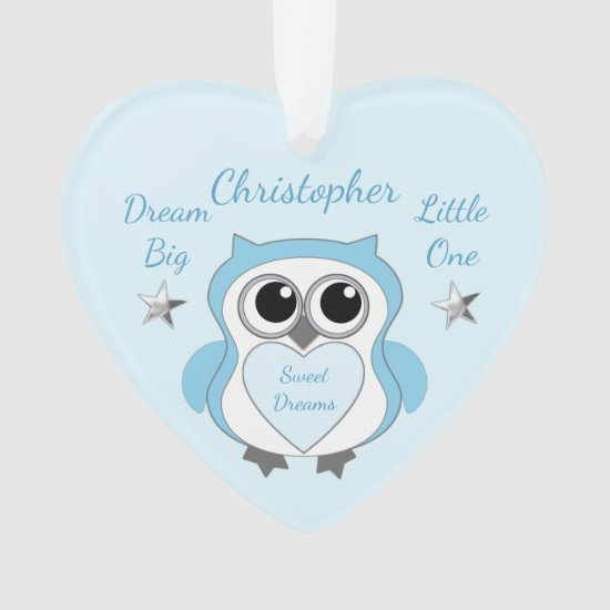 Silver Stars Owl blue Nursery Decor Heart Ornament