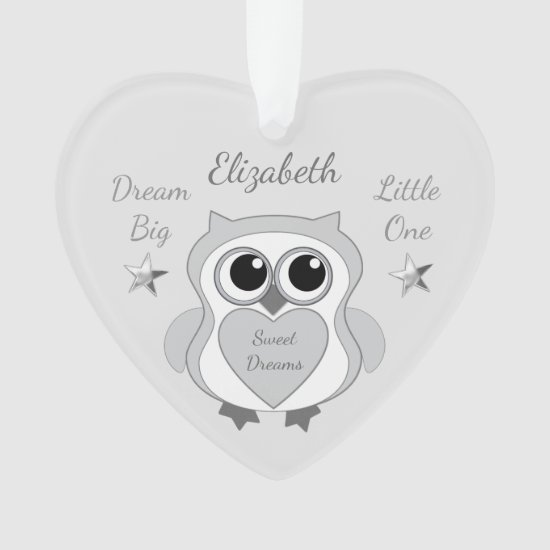 Silver Stars Owl grey Nursery Decor Heart Ornament