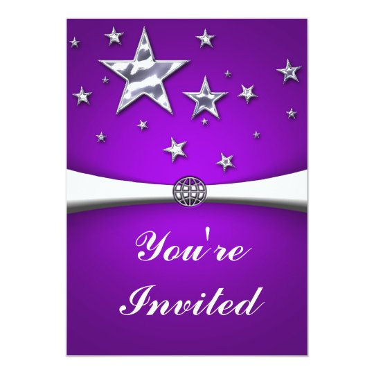Silver Stars Purple Party Invitation