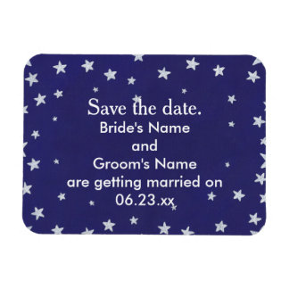 Silver Stars Royal Navy Blue Save the date Magnets