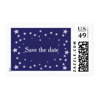 Silver Stars Royal Navy Blue Save the date Stamps