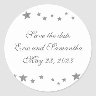 Silver Stars Save the date stickers weddings