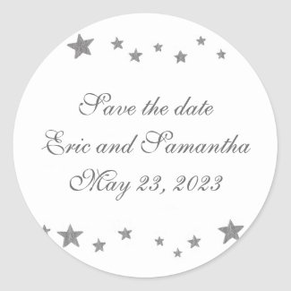 Silver Stars, Save the date stickers, weddings