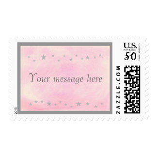 Silver stars Your message here Pink postage stamps