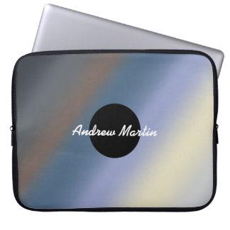 Silver/steal blue monogram neoprene Laptop Sleeve