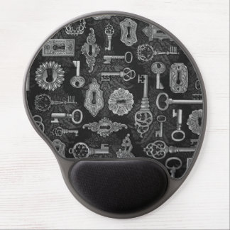 Silver Steampunk Keys and Key Holes Mouse Pad Gel Mouse Pad