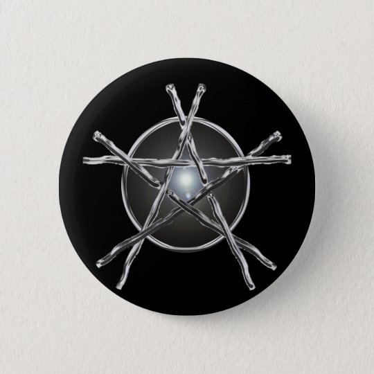 Silver Sticks Pentagram Button
