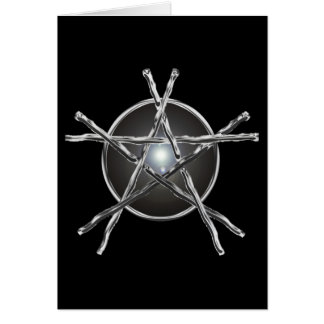 Silver Sticks Pentagram Card