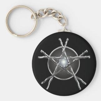 Silver Sticks Pentagram Keychain