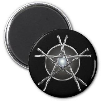 Silver Sticks Pentagram Magnet