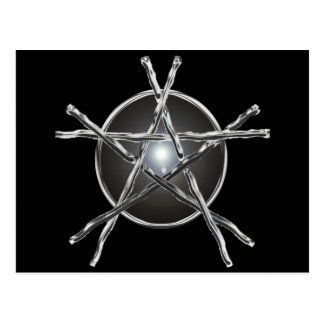 Silver Sticks Pentagram Postcard