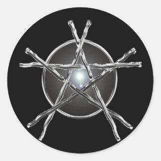 Silver Sticks Pentagram Sticker