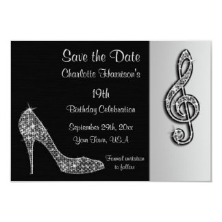 Silver Stiletto & Treble Cleft 19th Save The Date Card