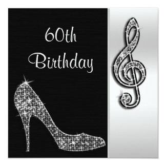 Silver Stiletto & Treble Cleft 60th Birthday Card