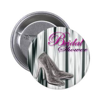 Silver Stilleto Modern Bridal Shower Pinback Button