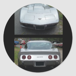 Silver stingray corvette front and back collage sticker