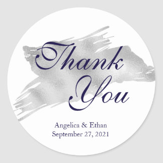 Silver Streak Thank You Stickers