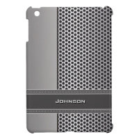 Silver Stripe & Dot with Dark Stitched Ribbon | iPad Mini Cover