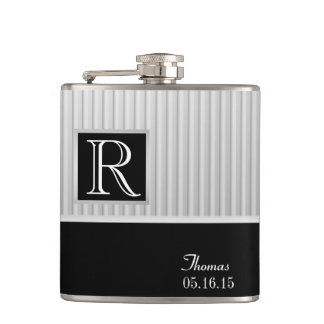 Silver Stripe Monogram Flask