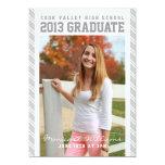 """Silver Striped Collegiate Graduation Announcement 5"""" X 7"""" Invitation Card"""