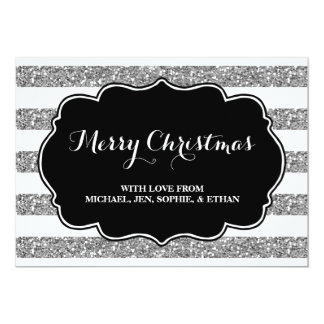 Silver Stripes Black and White Merry Christmas Card