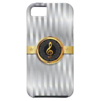 Silver Stripes Gold Music Symbol iPhone 5 Case