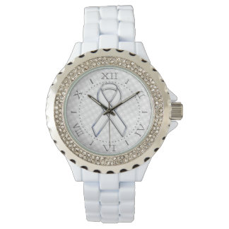 Silver Style White Ribbon Awareness Houndstooth Wrist Watches