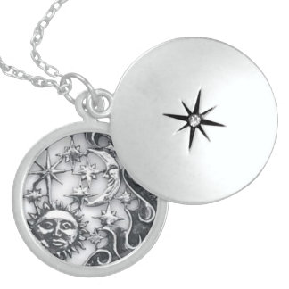 SILVER SUN MOON AND STARS STERLING SILVER NECKLACE