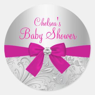 Silver Swirl & Bow Baby Shower Sticker