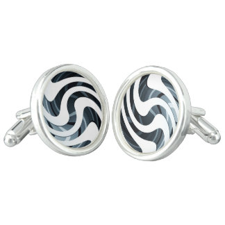 """Silver Swirl"" Decorative Cufflinks"
