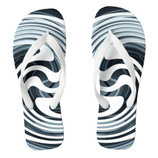 Silver Swirl Design Flip Flops