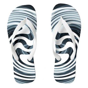 Beach Themed Silver Swirl Design Flip Flops
