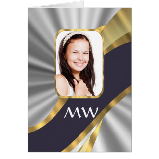 Silver swirl photo template card