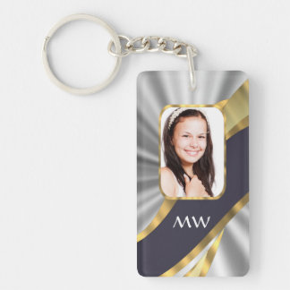 Silver swirl photo template keychain