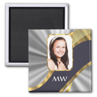 Silver swirl photo template magnet