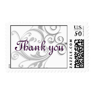 Silver Swirl Thank you Postage Stamp