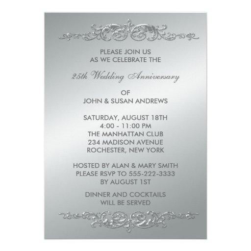 Silver Swirls 25th Wedding Anniversary Invitation