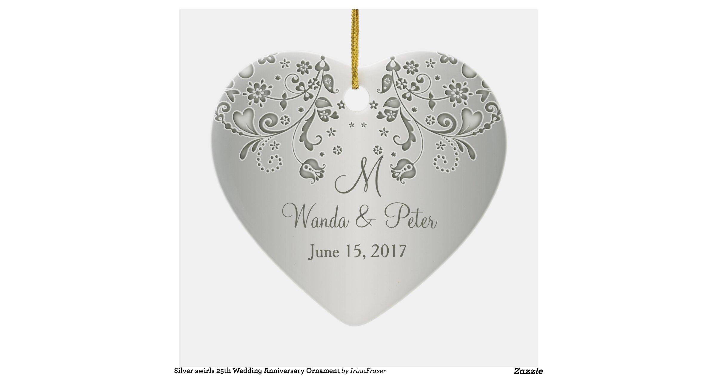 Silver Swirls 25th Wedding Anniversary Ornament R15c27c2749e64120be88ca8dfaf7