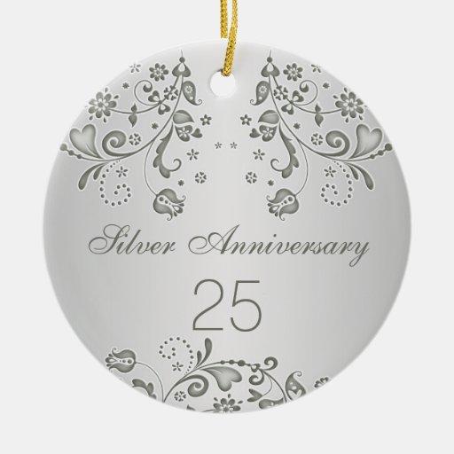 Silver Swirls 25th Wedding Anniversary Ornament Zazzle