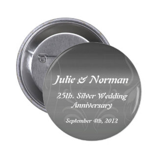 Silver Swirls Anniversary Save the Date Buttons
