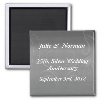 Silver Swirls Anniversary Save the Date Magnet
