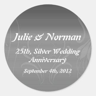 Silver Swirls Anniversary Save the Date Classic Round Sticker