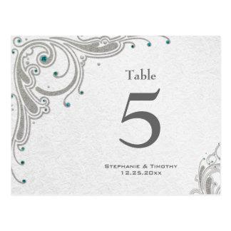 Silver swirls + aqua jewels wedding table number postcard