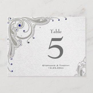 Silver swirls + blue jewels wedding table number postcard