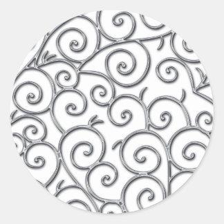 silver swirls classic round sticker
