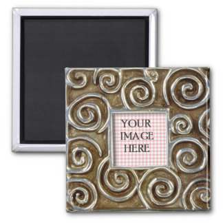 Silver Swirls Frame Template 2 Inch Square Magnet
