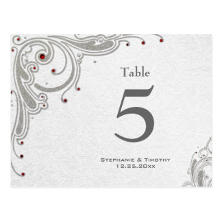 Silver swirls + red jewels wedding table number postcard